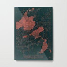 Madison Map Red Metal Print