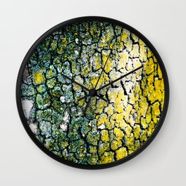 Yellow and Green Spotted Abstract Pigmented Tree Bark Print Wall Clock