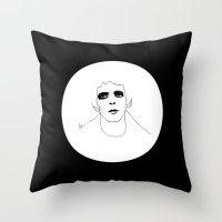 lou reed Throw Pillows featuring Lou Reed B & W by Les Gutiérrez