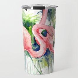 Flamingo Flamingos and Papyrus, flamingo lover pink green art Travel Mug