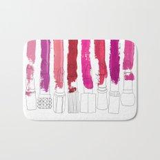 Lipstick Stripes - Floral Fuschia Red Bath Mat