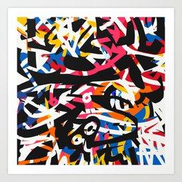 Black Lines Graffiti Creature in the Jungle Pop Culture  Art Print