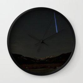 Watercolor Nightscape, Moraine Park 03, RMNP, Colorado, Meteor Streak Wall Clock