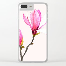 magnolia watercolor painting Clear iPhone Case