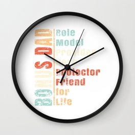 """Perfect Gift For Daddy For Him """"Bonus Dad Role Model Provider Hero Protector Friend For Life"""" Wall Clock"""