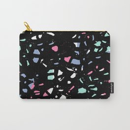Terrazzo nursery minimal pattern pink mint black and white abstract pattern design Carry-All Pouch