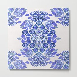 Delft blue Bohemian floral watercolor pattern in classic blue and cream Metal Print