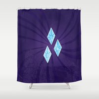 my little pony Shower Curtains featuring my grunge little pony.. rarity by studiomarshallarts