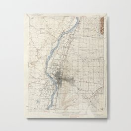 Vintage Albuquerque New Mexico Topographic Map Metal Print