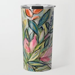 grey floral Travel Mug