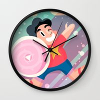 steven universe Wall Clocks featuring Steven by Viga Victoria Gadson