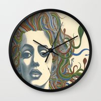 marylin monroe Wall Clocks featuring Medusa Monroe  by Ty McKie Creations