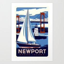 Newport Rhode Island Sailboat Lighthouse Retro Vintage nautical  Art Print