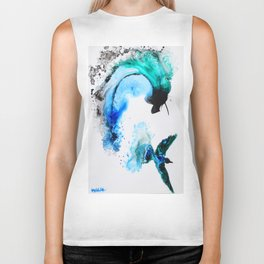 Humming Bird with a Splash Biker Tank