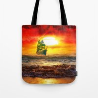 pirate ship Tote Bags featuring Black Pearl Pirate Ship by Electra