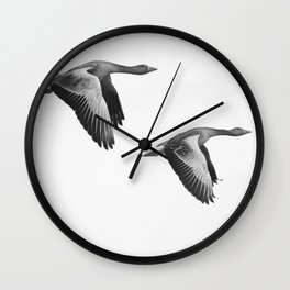 A Pair of Wild Geese Flying Together Synchronized Wall Clock
