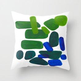 Mid Century Vintage Abstract Minimalist Colorful Pop Art Phthalo Blue Lime Green Pebble Shapes Deko-Kissen