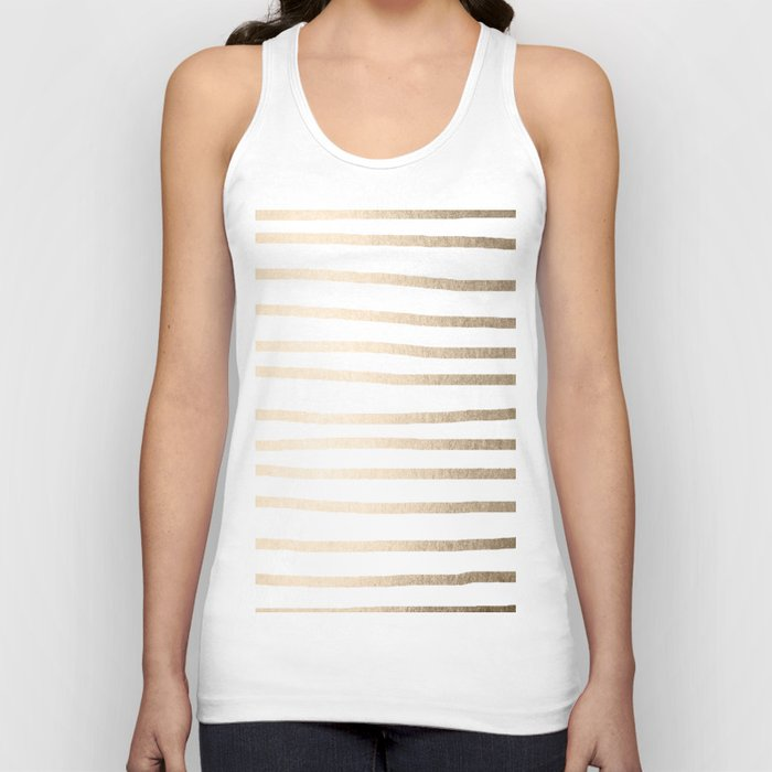 Simply Drawn Stripes in White Gold Sands Unisex Tanktop