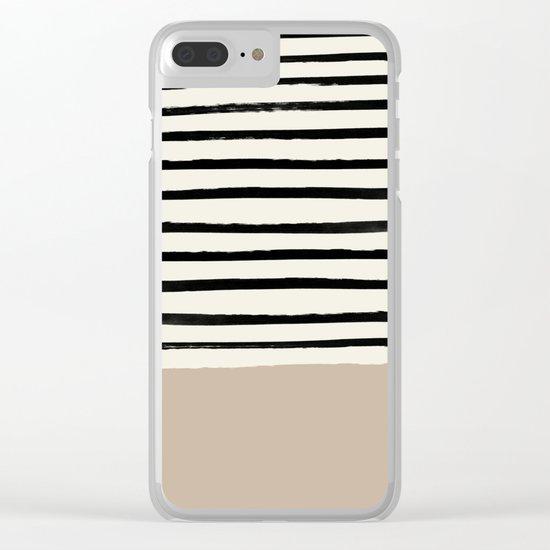 Latte & Stripes Clear iPhone Case