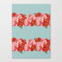 vintage floral Canvas Prints featuring vintage floral by cardboardcities