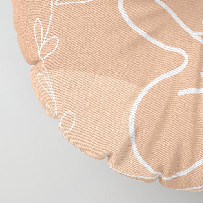 Woman in Nature Illustration Floor Pillow