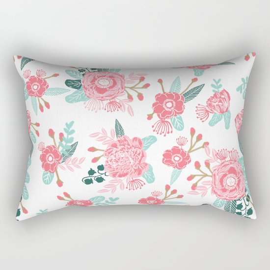Peony florals basic girly trendy floral bouquet white fresh colors modern botanicals Rectangular Pillow