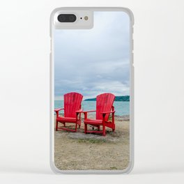 Red Chairs at Bluffers Park and Beach Clear iPhone Case