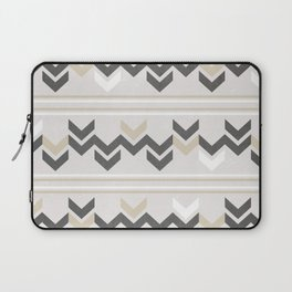 Geometric Arrowhead Charcoal Gold And White Grunge Pattern Laptop Sleeve