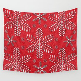DP044-8 Silver snowflakes on red Wall Tapestry