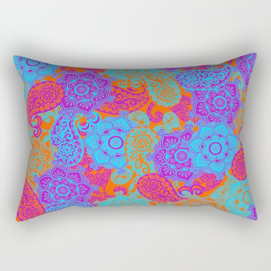 vibrant paisley Rectangular Pillow