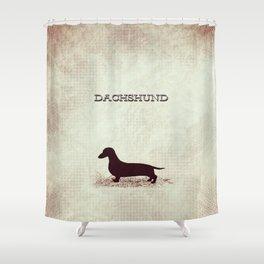 Retro Dachshund Distressed Paper Shower Curtain