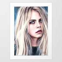 cara Art Prints featuring CARA by Laura Catrinella