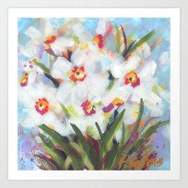Little White Daffodils Art Print