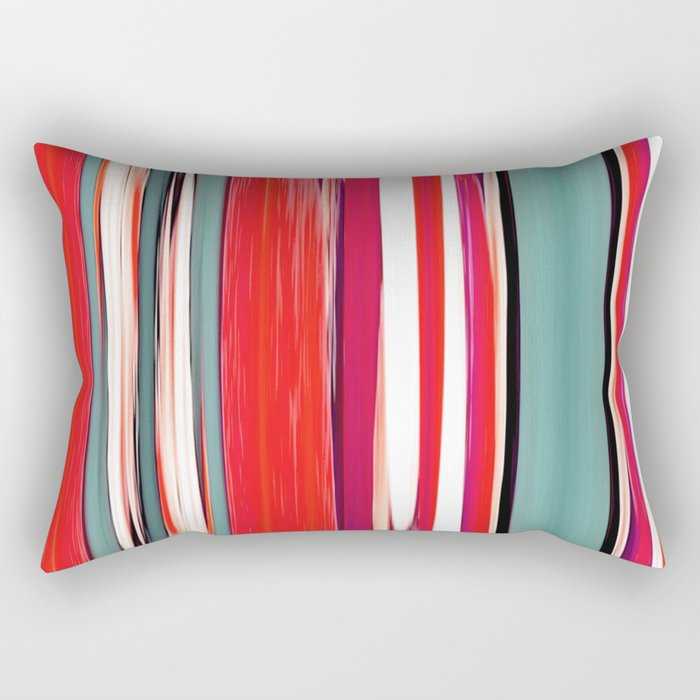 colorful abstract striped pattern Rectangular Pillow