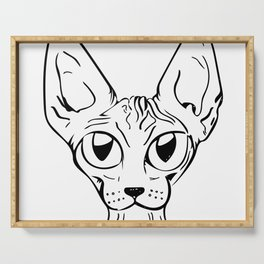 Sphynx Cat Cartoon - Sphynx Cat Drawing - Sphynx Illustration - Black and White - Ink Serving Tray