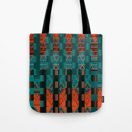 Abstract Geometric Glitch Green Neon Hyperspace Tote Bag