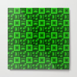 Convex rhombuses of green squares with dark rectangles. Metal Print