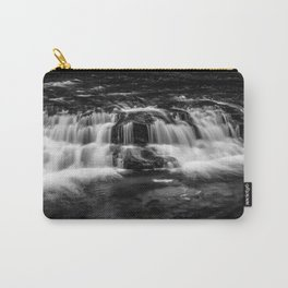 Welsh Waterfall in black and white Carry-All Pouch