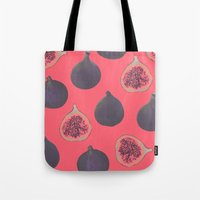 georgiana paraschiv Tote Bags featuring Fig pattern by Georgiana Paraschiv