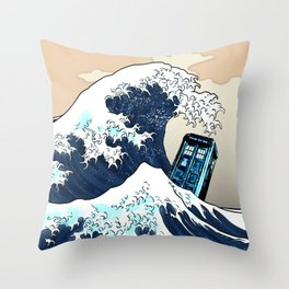 Blue phone Box Vs The great Big Wave iPhone 4 4s 5 5c 6, pillow case, mugs and tshirt Throw Pillow