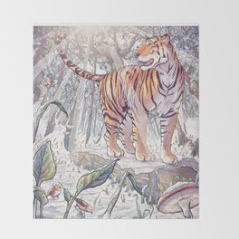 Spring Tigress Throw Blanket