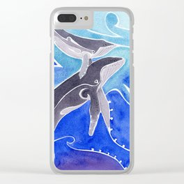 Polynesian humpback whale and calf Clear iPhone Case