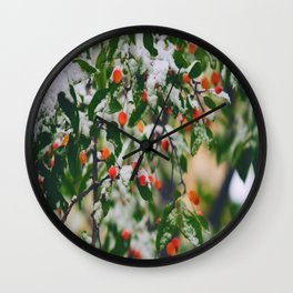 So many wild berries in the snow Wall Clock