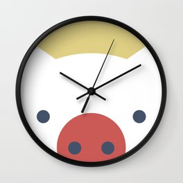 Peek-a-Boo Pig in Red and Navy on Yellow Wall Clock