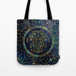 Virgo Zodiac Gold Abalone on Constellation Tote Bag