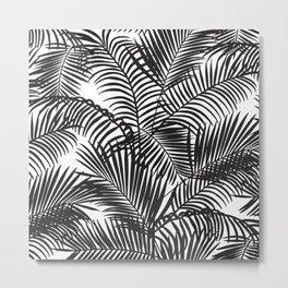 Modern black tropical palm trees pattern Metal Print