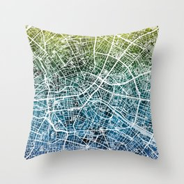 Berlin Germany City Map Throw Pillow