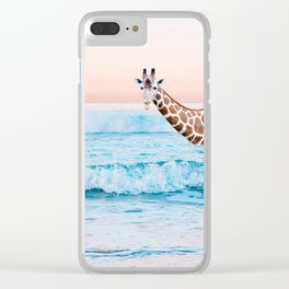 Going For A Dip-Giraffe In The Ocean Clear iPhone Case