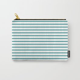 Horizontal Lines (Teal/White) Carry-All Pouch