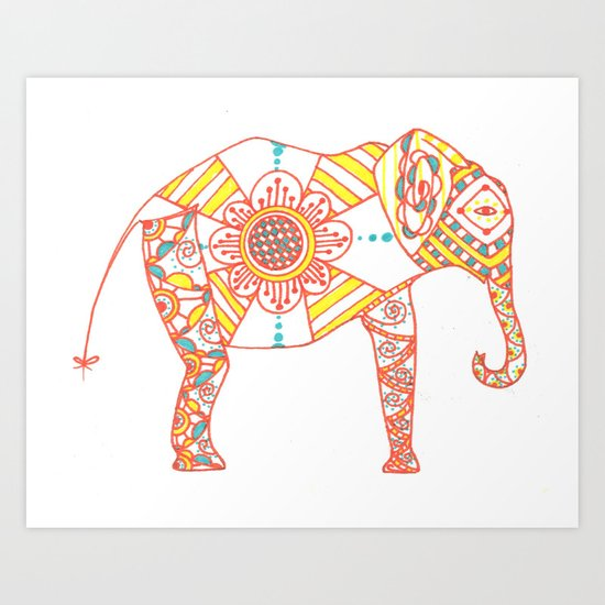 Orange Dreamsicle Elephant Art Print